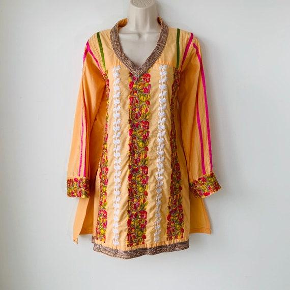 Embroidered tunic India kurta kaftan dress Intrica