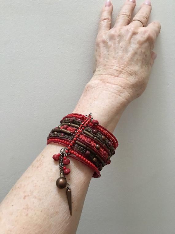 Beaded bracelet wrap cuff Bracelet Expandable Macrame Red coral brown wire Wrap bracelet Copper beads Boho Festival jewelry Handmade India