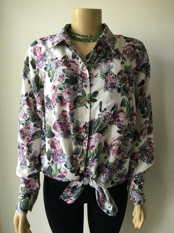 a4eab85a2cf27c 90s silk shirt Floral blouse lilac lavender Long loose fit