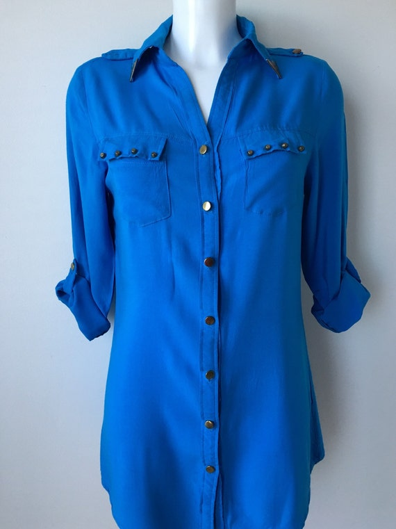 c643e582c2 Turquoise blue shirt Tunic top Button up Long tabbed sleeves Metal collar  tips Casual shirt Boho Western shirt Med