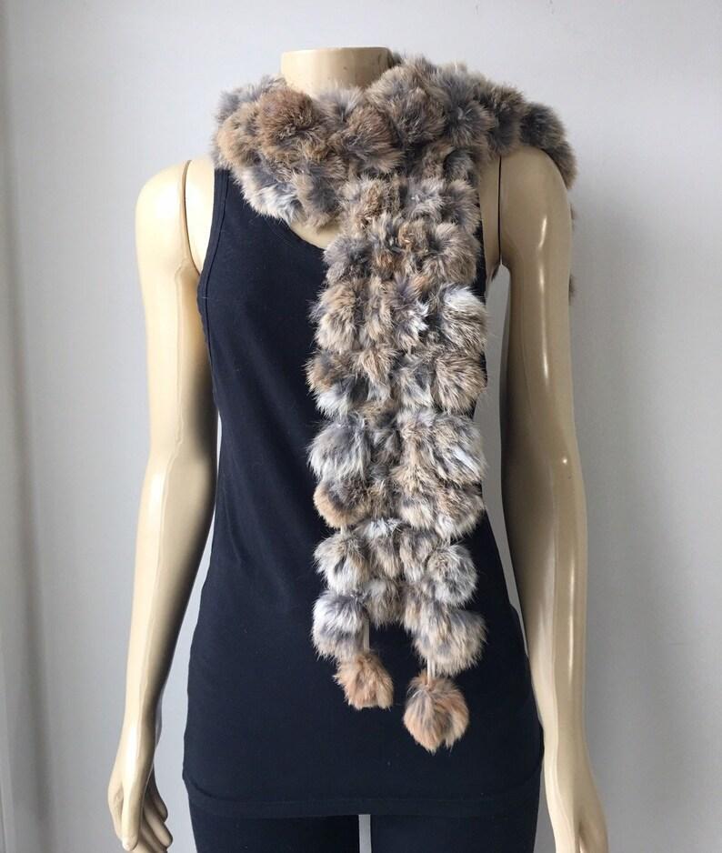 348f96fe9c0f7 Rabbit Fur scarf Naturel Rex Rabbit Fur Pom Pom Neck warmer 4   Etsy