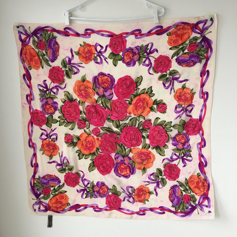 c37c22d16cc0 Vintage silk scarf Oscar de la Renta Large shawl Roses and   Etsy