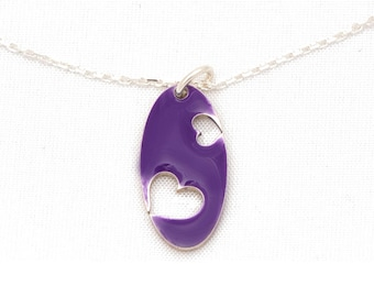 Oval silver Valentine Heart Necklace Sterling and resin