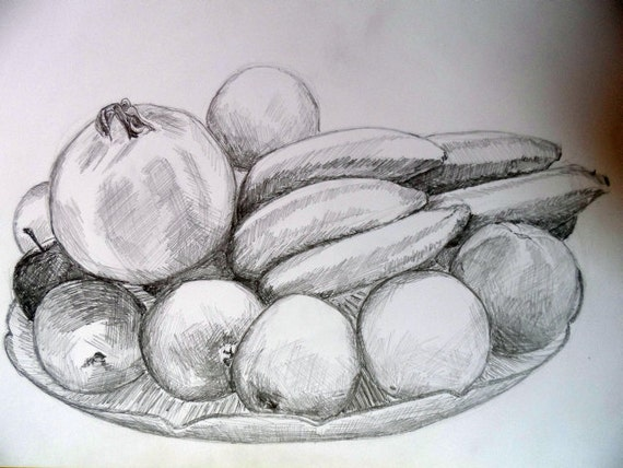 Vase with fruit nr 1 pencil drawing on paper