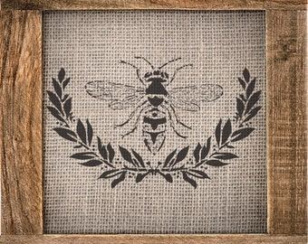 "Bee&Laurel (12.5"" x 7.8"") - A beautiful stencil"