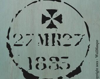 """Old Stamp Stencil (OldStamp3) - 8"""" x 8"""""""