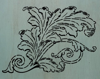 "LeafyScroll (10"" x 7.25"") - A beautiful leaf stencil."