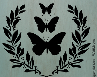 """Butterflies&LaurelSimplicity Stencil - 10"""" x 8.42"""" - A beautiful simple stencil that's just perfect for shabby chic or french country"""