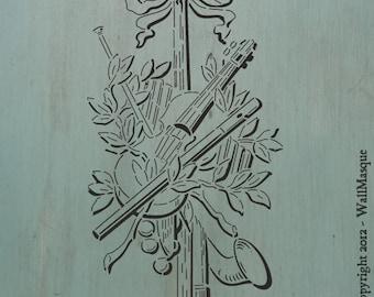 "Instrument Arrangement 2 (13.4"" x 7.3"") - Cool stencil. Instruments arranged, perfect for a furniture piece."