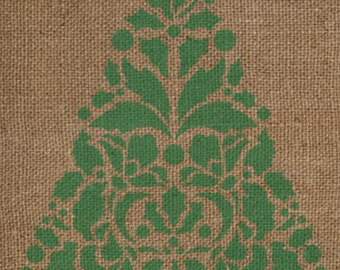Holly Christmas Tree Stencil - Single Christmas Tree