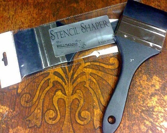 3 inch wide stencil shaper. This rubber squeegee like tool on a paint brush handle is great for screen printing.