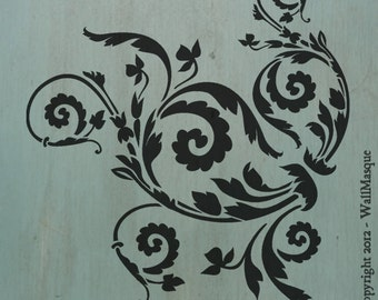 "Floral Scroll (10"" x 8.9"") - Beautiful and versatile stencil"