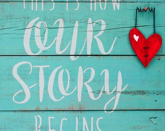 "Sign Stencil: ""This is how our story begins"" - Make your own wedding sign"
