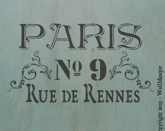 Paris Rue de Rennes Stencil