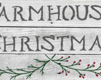 Farmhouse Christmas Stencil - Stencil only sign not included.