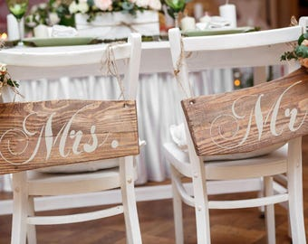 """Wedding Sign Stencil Set: """"Mr. and Mrs."""" - Make your own wedding signs"""