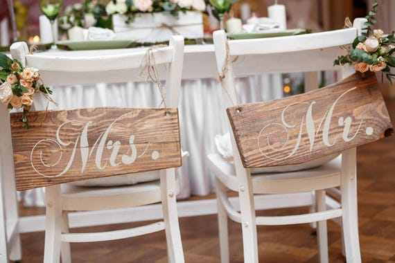 "Sign Stencil Set: ""Mr. and Mrs."" - Make your own wedding signs"