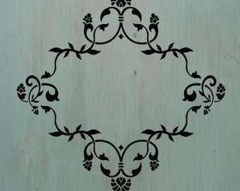"""Floral Frame Stencil - 12""""x12"""" A neat frame stencil with a variety of uses. Would be great for monograms."""