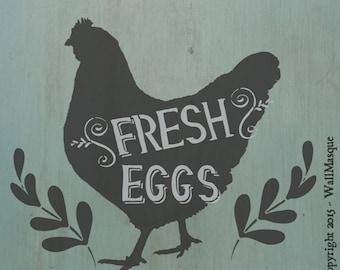 Fresh Eggs Stencil - 2 Overlays