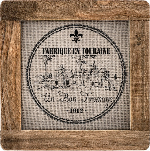 French Label Stencil - Great for furniture, feedsack stenciling, and burlap