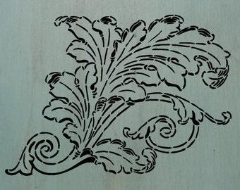 """LeafyScroll (10"""" x 7.25"""") - A beautiful leaf stencil."""