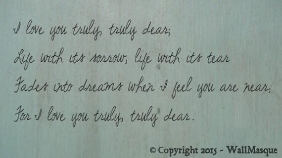 "Stencil Set ""I love you truly"""
