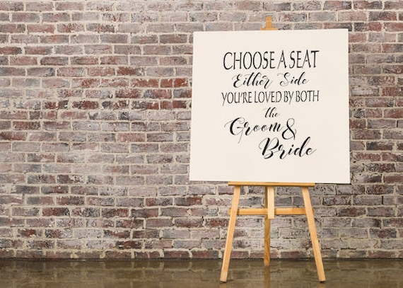 "Sign Stencil: ""Choose a seat either side"" - Make your own wedding sign"
