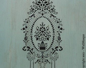 """Floral Center (8"""" x 15"""") - Cool vintage looking stencil."""