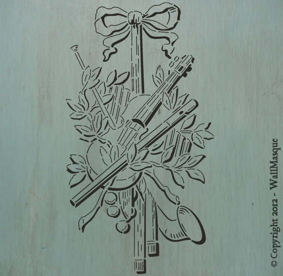 "Instrument Arrangement 2 (13.4"" x 7.3"") - Cool stencil. Instruments arranged, perfect for a furniture piece."