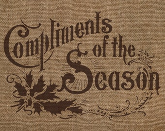 Compliments of the Season Stencil