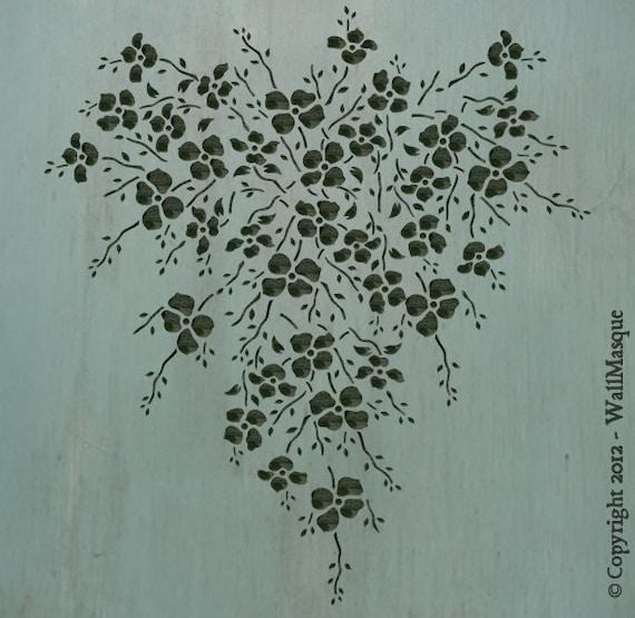 """Floral Heart Stencil - 8.39""""x7.65"""""""