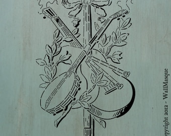 "Instrument Arrangement 1 (13.4"" x 7.3"") - A beautiful stencil of arranged instruments. A great furniture stencil"