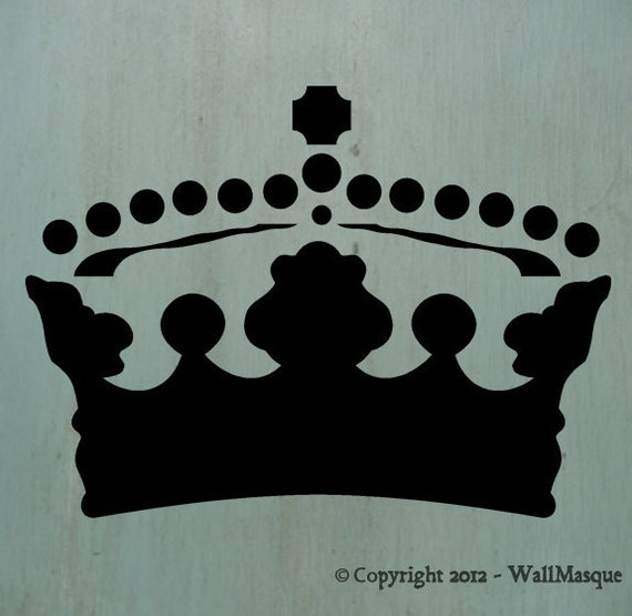 "Crown2 (7.36"" x 10"") A great little crown stencil. Perfect for craft projects and furniture pieces."