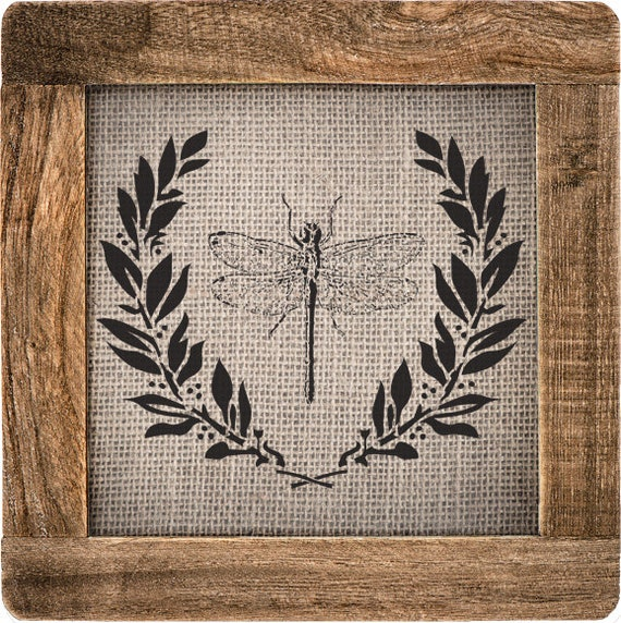 Dragonfly and Laurel Stencil