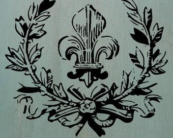 "Fleur&Laurel (6.4"" x 7.45"") - Cool vintage looking stencil."