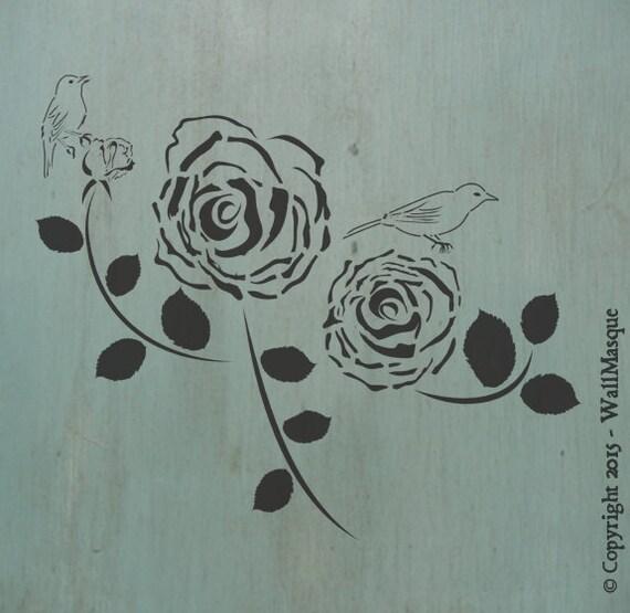 Roses & Birds Stencil