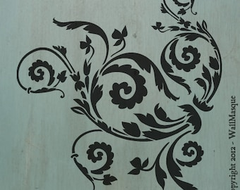 """Floral Scroll (10"""" x 8.9"""") - Beautiful and versatile stencil"""