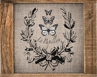 "Butterflies&Laurel (10""tall x 9.2"" wide) - 2 overlay vintage looking stencil"