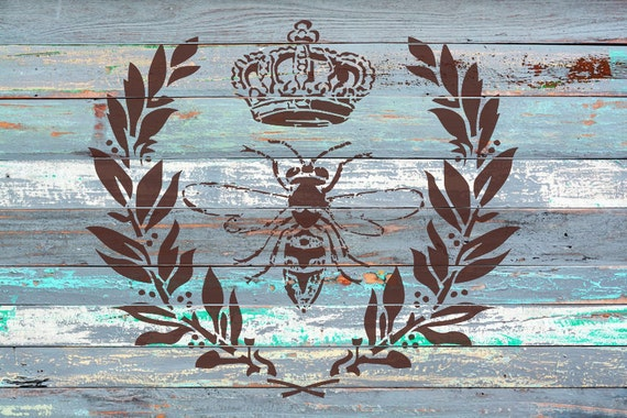 "Napoleon Bee Stencil -10"" wide x 8.3"" high - A cool vintage looking stencil for shabby chic furniture pieces or craft projects"