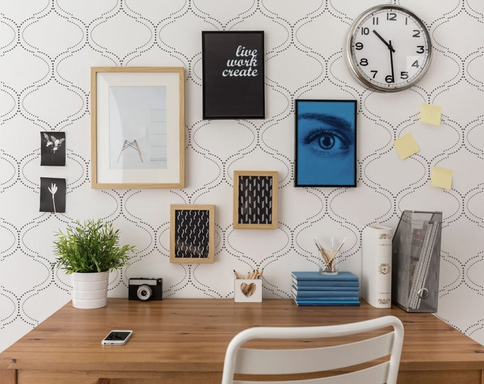 Featured listing image: DotFrame Allover Contemporary Stencil - Large Wall Stencil