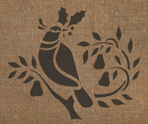 Partridge in a Pear Tree Stencil