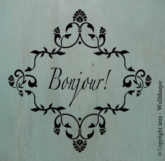 "Bonjour Floral Frame Stencil - 12""x12"""