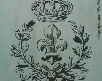 "Fleur&LaurelWithCrown (12"" x 10"") - Cool vintage looking stencil."