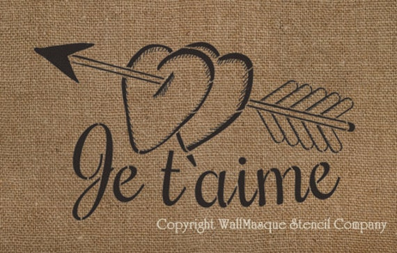 "Je t'aime Stencil - French ""I love you"""