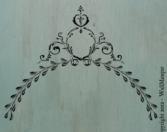 """Old Swag - Beautiful floral swag stencil 18"""" x 13.6"""""""