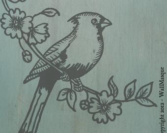 Bird on Branch 1 - 2 overlay stencil