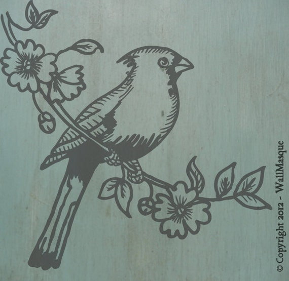 Bird on Branch 1 - 2 overlay stencil