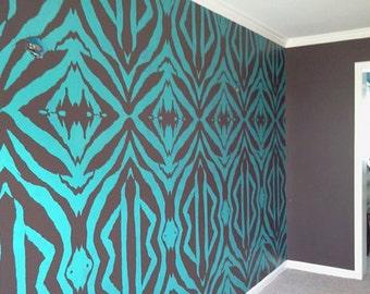 "Large Zebra Wall Stencil Set (2 very large stencils) - 15"" x 29"" - A lifesize scale zebra pattern stencil."