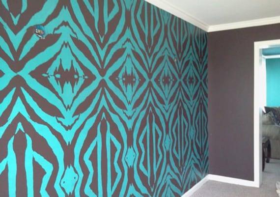 "Zebra Stencil Set (2 very large stencils) - 15"" x 29"" - A lifesize scale zebra pattern stencil."