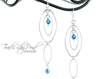 Very Long Silver Dangle Earrings - Marquise Earrings - Long Earrings - Blue Dangle Earrings - Swarovski Jewelry